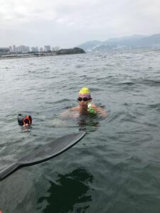 1st feed in 16 km swim
